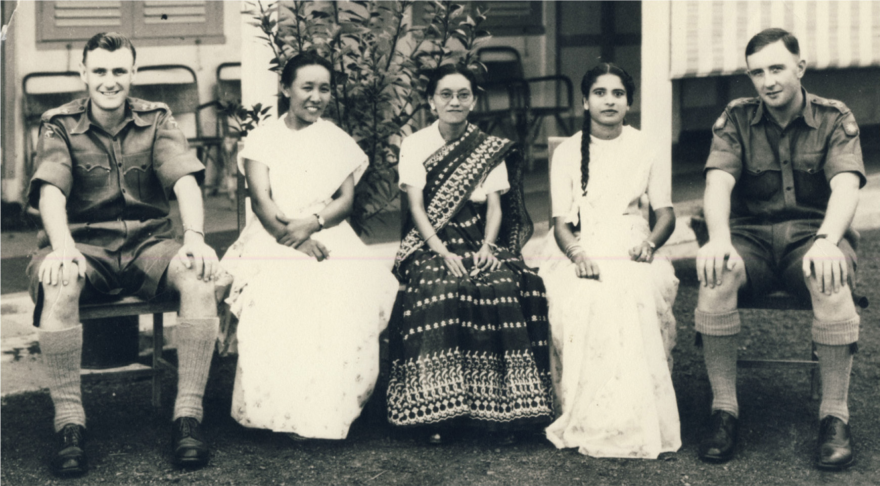 L–R: Dr Angus Rae in Malaya in 1956 with nurses Domashiring Llama (Tibet), Sabitri Devi Tamang (Nepal), Matilda Mamon (India), and Dr Vincent Sweeney (Scotland).