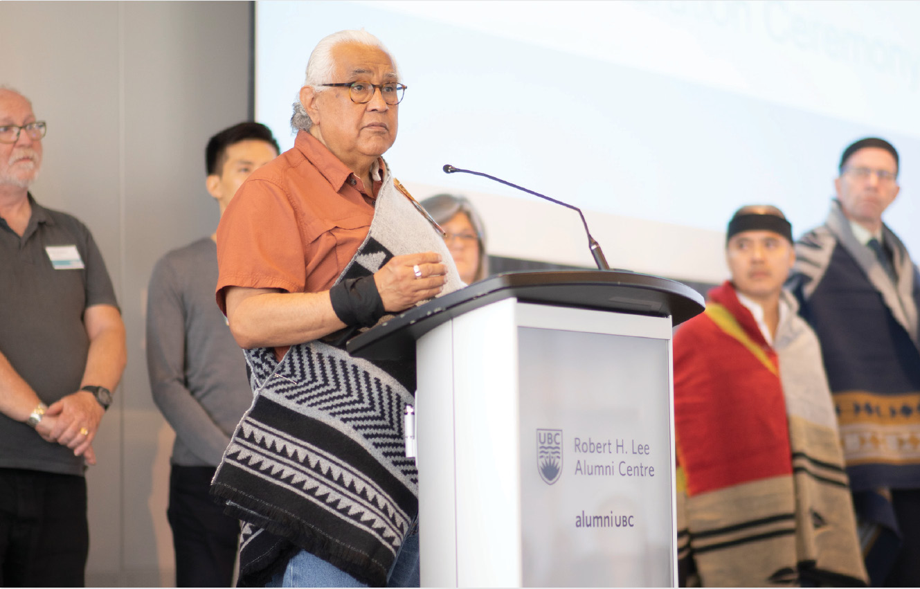 Musqueam Elder Shane Pointe opens the May 2019 Representative Assembly meeting commemorating the signing of the Declaration of Commitment on Cultural Safety and Humility in Health Services