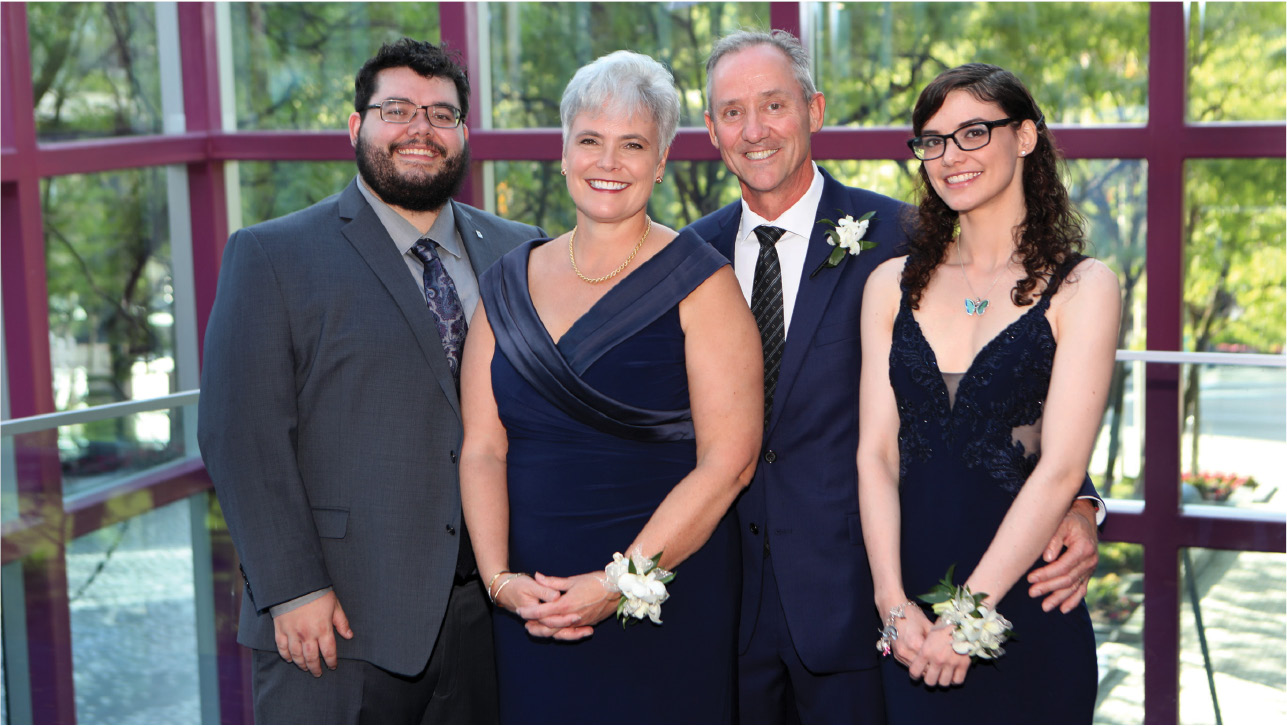 Dr Ross with her son Colin, husband Rob, and daughter Shannon the day of her inauguration.