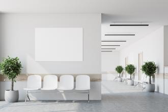 An empty hospital waiting area