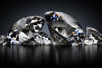 A collection of diamonds on a black background