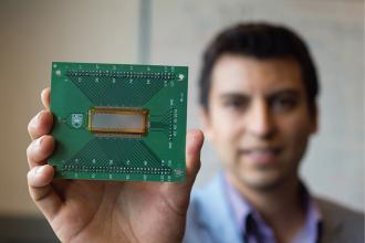 Study lead author Carlos Gerardo holding the new ultrasound transducer that could revolutionize ultrasounds.
