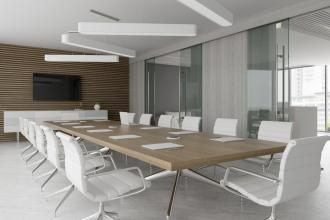 A boardroom table in a modern office