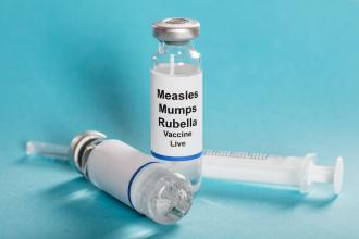A vial with MMR vaccine