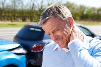 A man has whiplash after a car accident