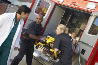 An ambulance brings a patient to the hospital