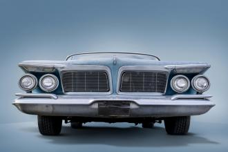 The front end of a vintage car