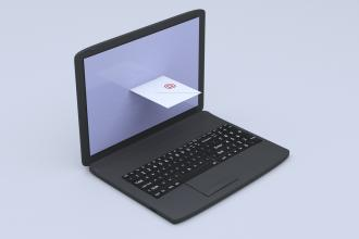 An envelope comes out of a laptop screen as if it were a mail slot