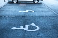 Disabled stalls in a parking lot