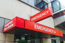 The entrance to a hospital emergency department