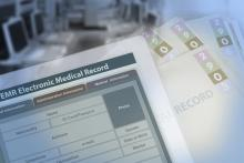 A screen shows an electronic medical records form