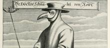 A plague doctor with a beak mask from the seveteenth century.