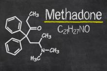 Blackboard with the chemical formula of Methadone