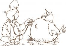 Illustration of a rooster doctor inspection a hen patient with a stethoscope