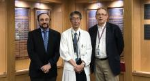 Drs Simon Rabkin, Eric Yoshida, and Stephen Nantel inside the VCH Hall of Honour.