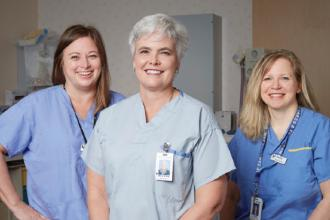 Dr Ross is a member of the Primary Care Obstetrical Group at Royal Columbian and loves working with skilled obstetrical nurses like Cheryl Britton (left) and Claudia Kraemer (right).