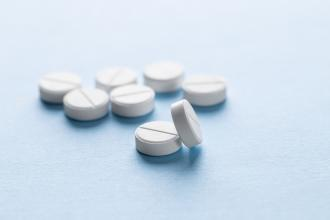 Prednisone pills on a table or counter
