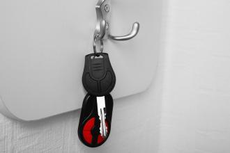 A set of keys hangs on the wall