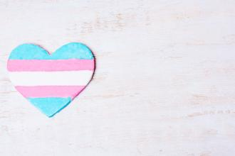 A heart with the transgender flag, with blue, pink, and white stripes