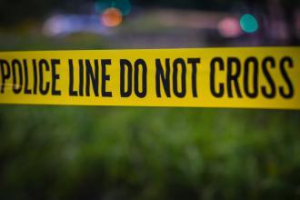 Caution tape at a crime scene