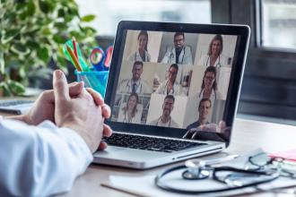 A group of doctors on a video conference call