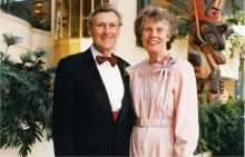 Dr Angus Rae with his wife, Dr Ann Skidmore, receiving the BCMA Silver Medal of Service at the Victoria Conference Centre (1998).