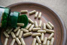 Biotin capsules on a clay plate