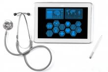 A stethoscope sits next to a tablet with medical icons on the screen