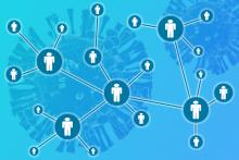 A concept image showing a network of people over a background of coronaviruses
