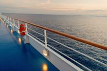 View of the water from the deck of a cruise ship