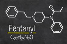 Blackboard with the chemical formula of Fentanyl