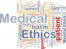 word cloud with emphasis on medical ethics
