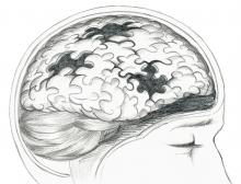 Sketch of the brain made up of puzzle pieces