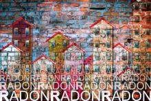 Illustration of radon in dwellings
